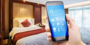 mobile phone and modern twin bed room
