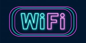 Wifi icon with lighting effect. Wi-Fi neon sign. Vector illustration.